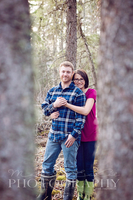 engagement photo, couple pets, trees and sunset